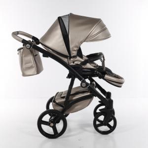 Novità Tako Baby - Laret Premium - telaio nero - ecopelle - beige/argento