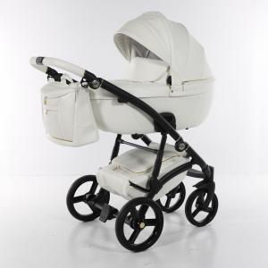 Novità Tako Baby - Laret Premium - telaio nero - ecopelle - bianco/oro