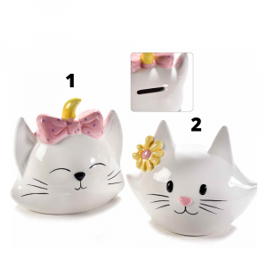 Gattino salvadanaio In ceramica colorata