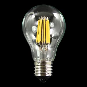 Lampadina con strisce Led COB lineari, attacco E27,  8W 230V, luce calda 2700K.