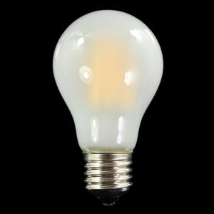 Lampadina satinata con 8 strisce Led COB lineari, attacco E27, 8 W 230V, luce calda 3000K.