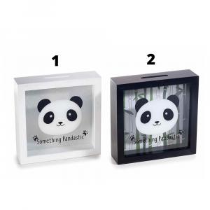 Panda salvadanaio in legno e vetro