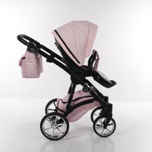 Junama Termo MIX - ecopelle/ tessuto rosa - telaio nero con rifiniture silver - 03