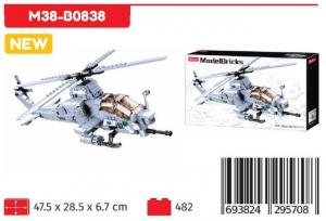 SLUBAN MODELBRICK ATTACK ELICOPTER 482 PCS M38-B0838 NICE