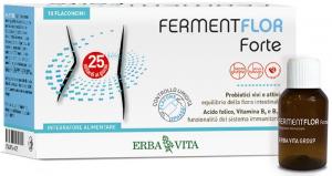 FERMENTFLOR FORTE - INTEGRATORE ALIMENTARE ERBAVITA PROBIOTICO CONCENTRATO PER EQUILIBRIO DELLA FLORA BATTERICA INTESTINALE 10 FLACONCINI