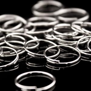 Anello brisè Ø10 mm con 1,25 giri acciaio nikelato per catene di cristalli