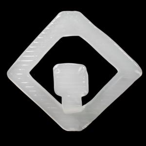 Anello quadro in vetro 14x14 cm color bianco seta