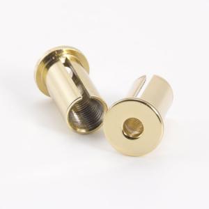 Bicchierino di fissaggio a soffitto oro lucido per bloccafilo M10x1 - foro Ø5  + uscita laterale