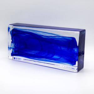 Blocco mattone anima blu in vetro di Murano cristallo trasparente