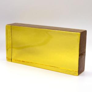 Blocco mattone in vetro di Murano ambra trasparente