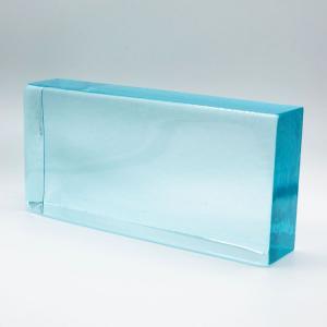 Blocco mattone in vetro di Murano celeste trasparente