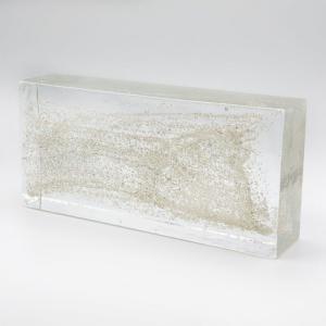 Blocco mattone in vetro di Murano trasparente con glitter argento