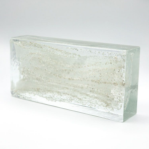 Blocco mattone in vetro di Murano trasparente con glitter argento e anima bianca