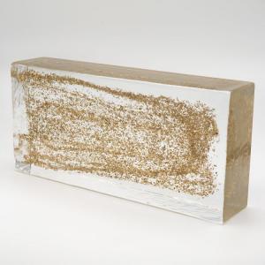 Blocco mattone in vetro di Murano trasparente con glitter oro