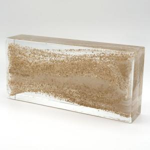 Blocco mattone in vetro di Murano trasparente con glitter oro e anima bianca