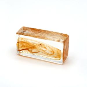 Blocco mini mattone anima ambra in cristallo trasparente vetro Murano