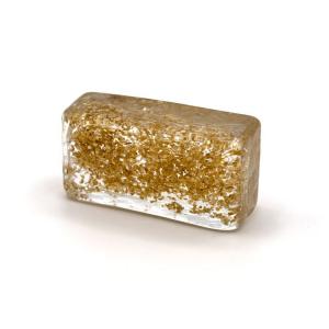 Blocco mini mattone anima glitter oro in cristallo trasparente vetro Murano