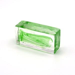 Blocco mini mattone anima verde in cristallo trasparente vetro Murano