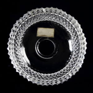 Bobeche in cristallo di Boemia Ø10 cm, h30 mm, 5 fori laterali originale anni '60. Per restauri lampadari vintage.