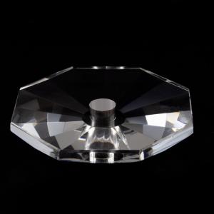 Bobeche ottagonale in cristallo molato 80x17 mm, foro Ø5 mm