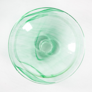 Bobeche piattino lampadari vintage in vetro verde Ø90 mm, foro Ø10 mm.