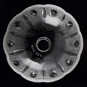 Bobeche tazza in cristallo Boemia satinato. Ø9,5 cm, foro Ø15 mm, 5 fori laterali. Per restauro lampadari vintage e ricambio in vetro.