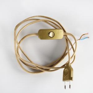 Cablaggio con interuttore oro, seta oro, 95 cm (spina) + 85 cm (attacco), doppio isolamento.