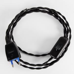 Cablaggio per lampada treccia tessile con interruttore e spina nero, 120 cm (spina) + 80 cm (attacco).