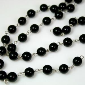 Catena 100 cm perle Ø 8 mm, tondino liscio colore nero, spillo a occhiello nickel