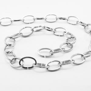 Catena metallica cromo maglia ovale sezione quadrata 3.8x20x30 mm per lampadari