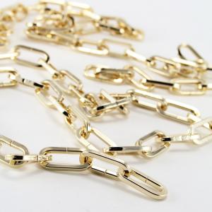 Catena metallica oro maglia genovese sezione quadrata 4x8x28 mm per lampadari lunghezza 50 cm