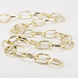 Catena metallica oro maglia ovale sezione quadrata 3.8x20x30 mm per lampadari