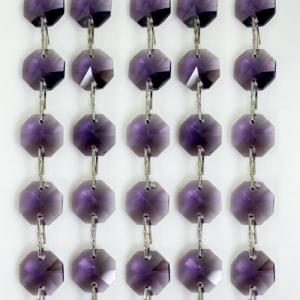 Catena ottagoni 14 mm in cristallo viola, lunghezza 50 cm. Clip nickel.