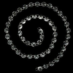 Catena ottagoni 14 mm in vetro color cristallo, lunghezza circa 100 cm,  anello brisè nickelato da 10 mm.