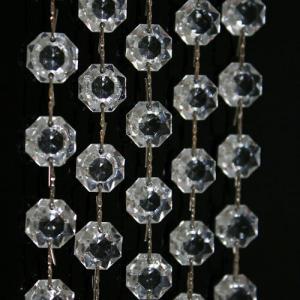 Catena ottagoni 14 mm in vetro veneziano color cristallo, lunghezza 50 cm, clip nickel.