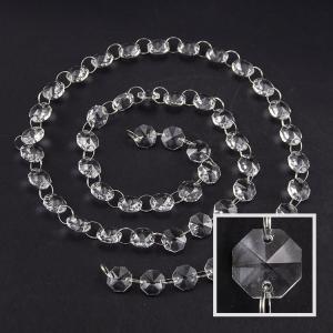Catena ottagoni 14 mm lunga circa 100 cm. Cristallo colore puro con anello brisè nickel.