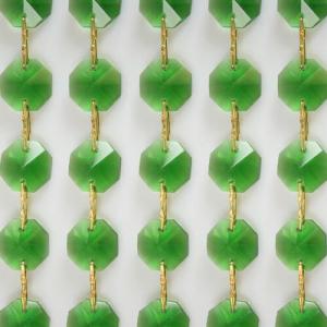 Catena ottagoni 16 mm in cristallo colore verde, lunghezza 50 cm, clip ottone.