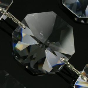 Catena ottagoni 28 mm cristalli Asfour lunga 50 cm, clip nickel.
