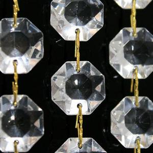 Catena ottagoni 28 mm in vetro veneziano color cristallo, lunghezza 50 cm, clip ottone.