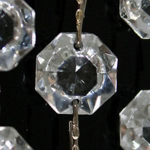 Catena ottagoni 32 mm in vetro veneziano color cristallo, lunghezza 50 cm, clip nickel.