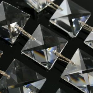 Catena quadrucci 20 mm cristallo Asfour, lunga 50 cm, clip nickel