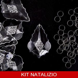 Confezione risparmio: 10 pz Pendente foglia barocca 63 mm cristallo acrilico + 10 pz anello brisè 10 mm