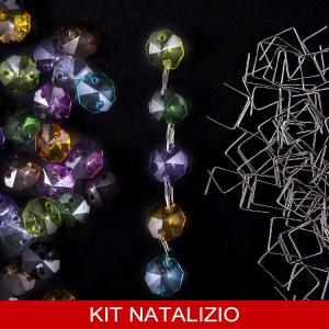 Confezione risparmio: 200 ottagoni 14 mm in acrilico multicolor+ 200 clip nickel per addobbi natalizi