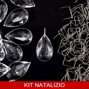 Confezione risparmio: 50 pz cristallo pendente acrilico 28 mm 50 pz + clip nikel 14 mm