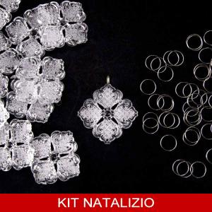 Confezione risparmio: 50 pz Fiore 40 mm cristallo acrilico + 50 pz anello brisè 10 mm