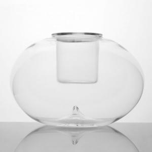 Contenitore a sfera di cristallo Ø18 cm con bicchierino interno. Porta candela, porta essenze, terrario
