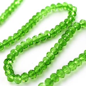 Filo perle 6x4mm verdi sfaccettate circa 102 perle.