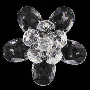 Fiore in cristallo con doppia corolla cristallo e perla cristallo. Attacco filetto M6