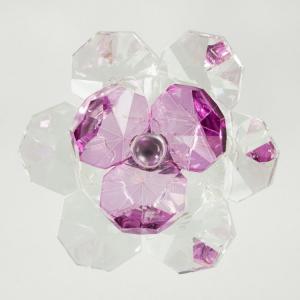 Fiore in cristallo corolla esterna cristallo e centrale rosa viola. Attacco filetto M6