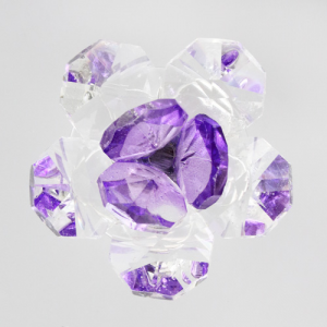 Fiore in cristallo corolla esterna cristallo e centrale viola. Attacco filetto M6